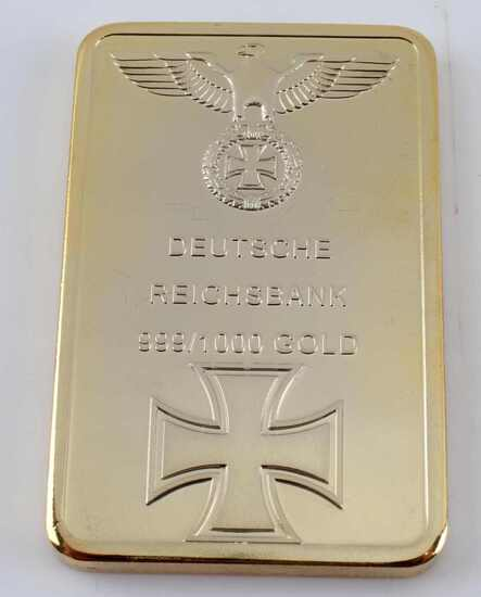 WWII GERMAN REICHSBANK FACISMILE 1 OZ GOLD BAR