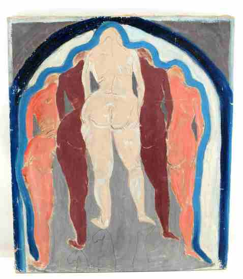 OIL ON CANVAS MODERN ART FEMALE NUDE APHRODITE