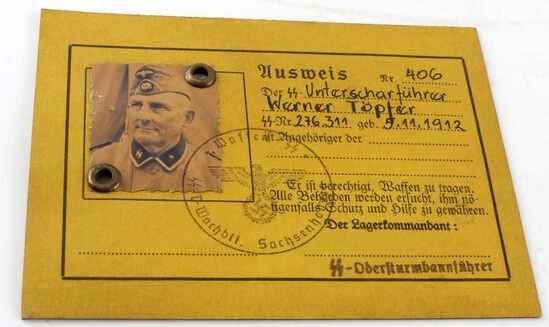 WWII GERMAN AUSWEIS OFF SS SAKSENHOUSEN GUARD