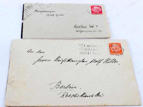 LOT OF 2 WWII GERMAN COVERS ADDRESSED TO HITLER