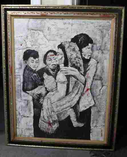 CONTEMPORARY FIGURATIVE BLACK AND WHITE PAINTING