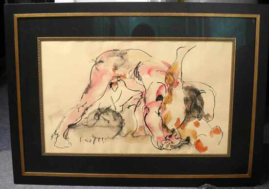 HENDRIK GRISE MID CENTURY EXPRESSIONIST WATERCOLOR