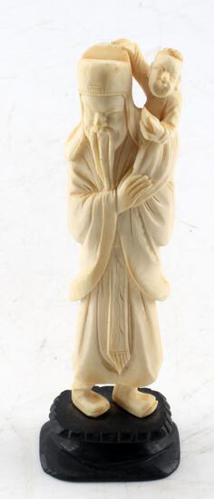 ANTIQUE CHINESE DIETY FU FUXING IVORY FIGURING
