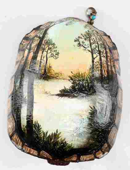 GOPHER TORTOISE SHELL WITH FLORIDA LANDSCAPE
