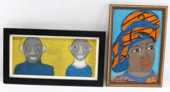 LOT OF TWO MODERN AFRICAN PAINTINGS FABRIC CANVAS