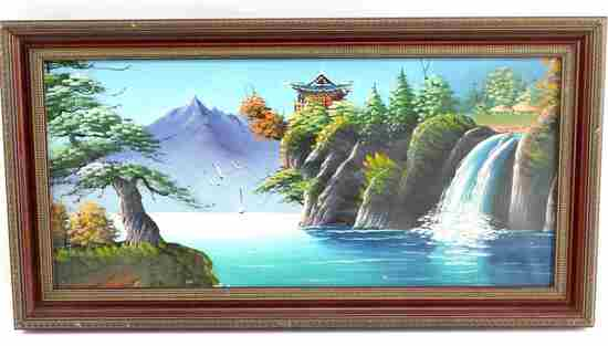 ASIAN OIL ON CANVAS PAINTING PAGODA W WATERFALL