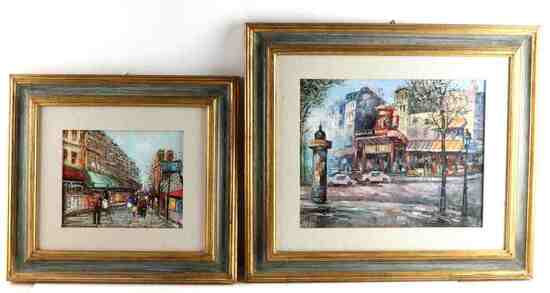 LOT 2 OIL PAINTINGS NOTRE DAME MOULIN ROUGE