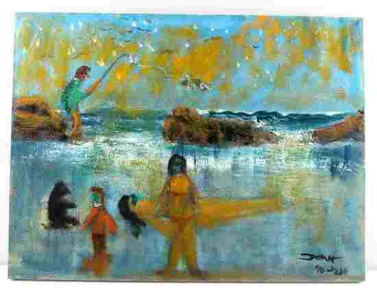 MODERN FIGURATIVE WATERSCAPE OIL PAINTING