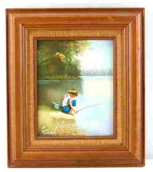 MANUEL SIGNED OIL PAINTING OF A BOY FISHING