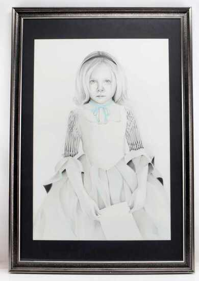 ORIGINAL GRAPHITE DRAWING OF YOUNG VICTORIAN GIRL
