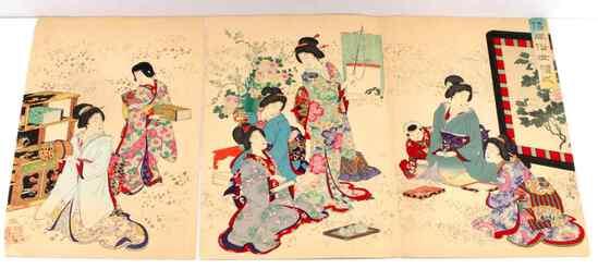 UKIYO-E 19TH CENTURY JAPANESE WOODBLOCK TRIPTYCH