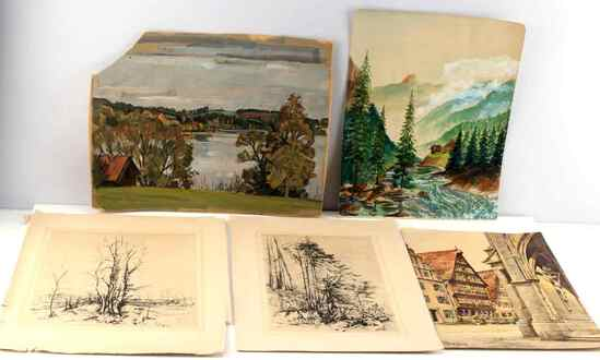 WWII ERA ART PRINT AND WATER COLOR LANDSCAPE LOT