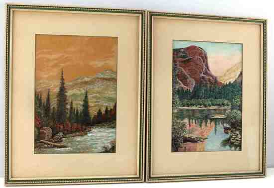 SIGNED 7IN BY 10IN LANDSCAPE PAINTINGS LOT OF 2