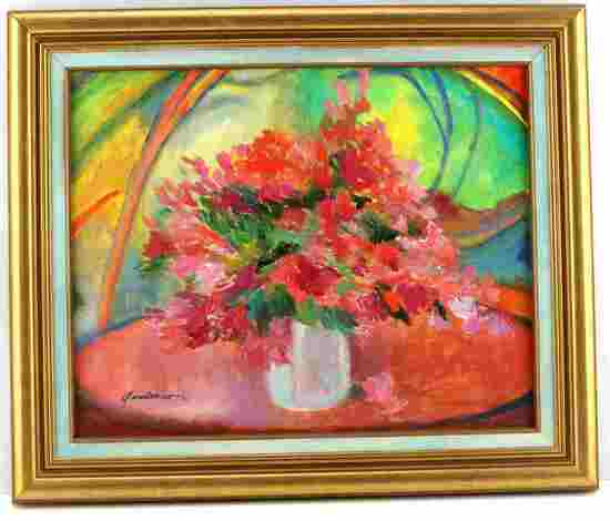MODERN FLORAL STILL LIFE OIL PAINTING BY ANDERSON