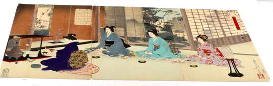 UKIYO-E 19TH CENTURY JAPANESE WOODBLOCK TRIPTYCH