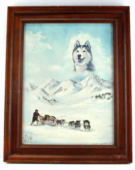 RUTH HYATT MAYSTEAD ALASKAN SLED DOG PAINTING