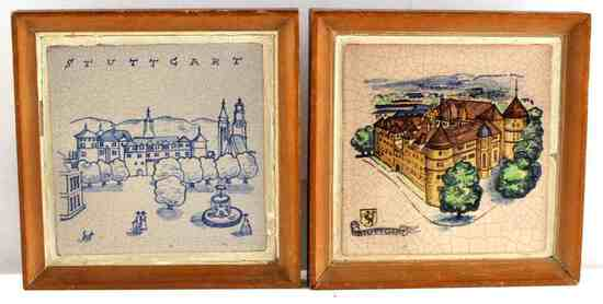 STUTTGART PAINTED CERAMIC TILE LOT OF 2 FRAMED