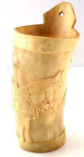 ANTIQUE RELIEF CARVED HORN DRINKING VESSEL