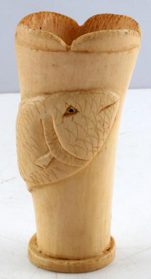 ANTIQUE IVORY SCRIMSHAW CARP FISH CARVING