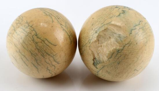 2 ANTIQUE CIVIL WAR IVORY CUE BILLIARD BALLS