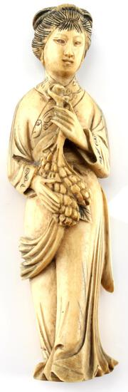 ANTIQUE IVORY GODDESS DEITY FIGURINE 5 1/4 INCHES