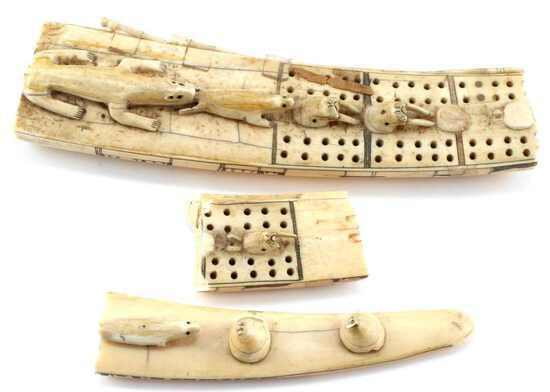 ANTIQUE WALRUS TUSK CRIBBAGE BOARD PIECES
