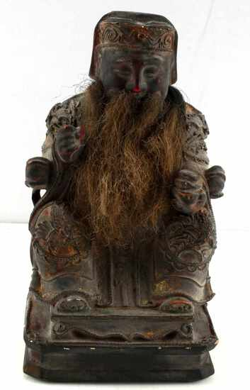 CHINESE CARVED WOODEN SEATED EMPEROR FIGURE