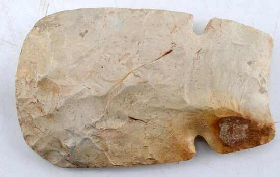 NATIVE AMERICAN DOUBLE NOTCHED LITHIC HOE HEAD