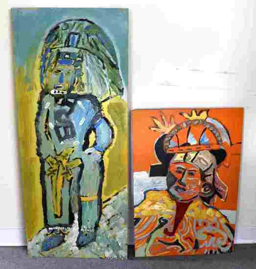 LOT OF TWO MODERNIST AZTEC FIGURAL PAINTINGS
