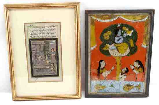LOT OF TWO INDIAN PAINTINGS GLASS & MANUSCRIPT