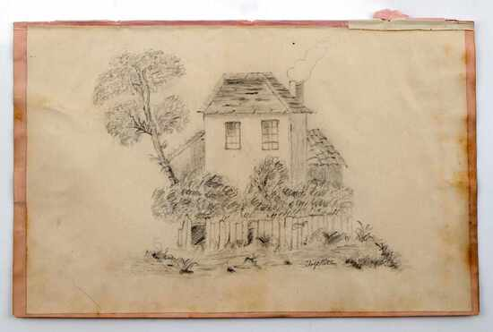 ADOLF HITLER SKETCH BOOK RECOVERED PENCIL DRAWING