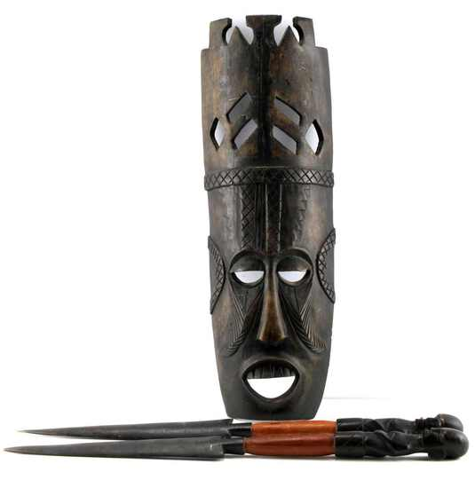 AFRICAN WOODEN TRIBAL MASK SET OF STATUETTE KNIVES