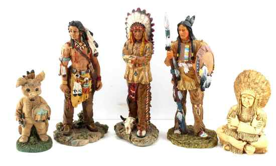GROUP OF SIX NATIVE AMERICAN INDIAN FIGURINES