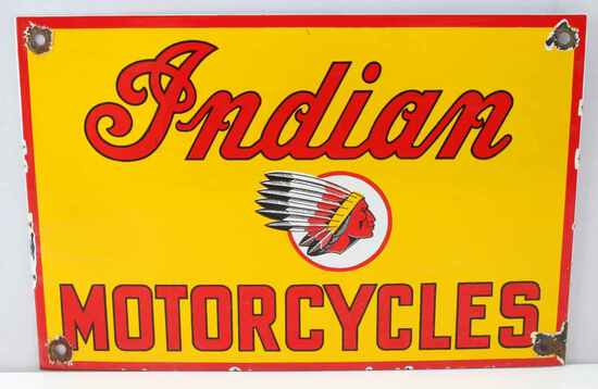VINTAGE INDIAN MOTORCYCLES CHIEF PORCELAIN SIGN