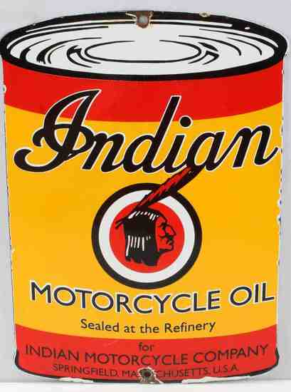 INDIAN MOTORCYCLE OIL PORCELAIN ADVERTISING SIGN