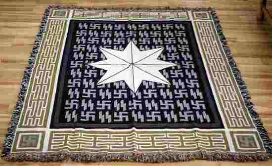 WWII GERMAN SS AROLSEN STAR RUNIC WALL TAPESTRY