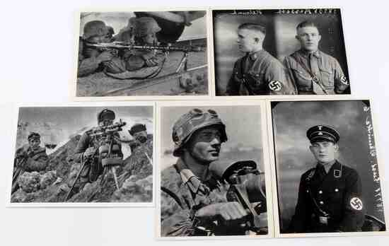WWII GERMAN WAFFEN SS SOLDIER POST CARDS LOT OF 5