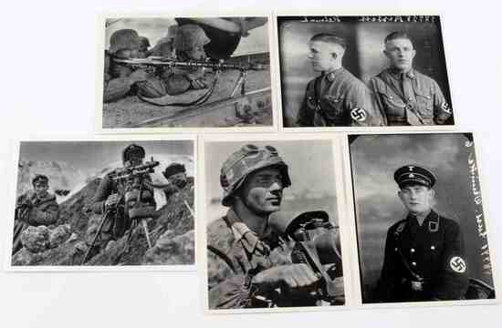 WWII GERMAN WAFFEN SS SOLDIER POSTCARDS LOT OF 5