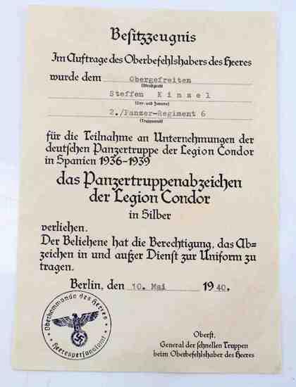WWII GERMAN SPANISH CONDOR TANK BADGE DOCUMENT