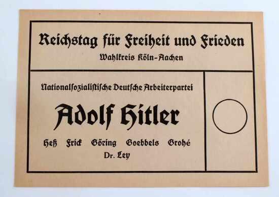 WWII GERMAN THIRD REICH NSDAP VOTING BALLOT