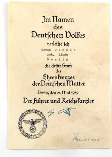 WWII GERMAN THIRD REICH MOTHER'S CROSS AWARD PAPER