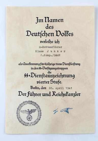 GERMAN WWII WAFFEN SS 4 YEAR LONG SERVICE DOCUMENT