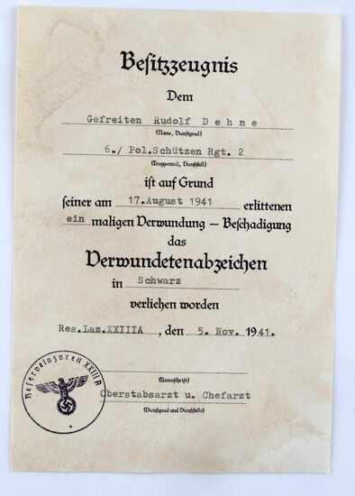 GERMAN WWII BLACK WOUND BADGE DECORATION DOCUMENT
