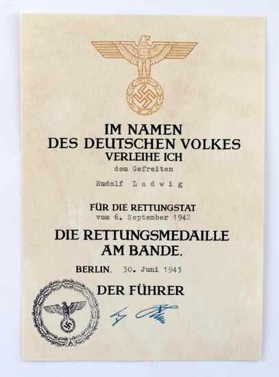 GERMAN WWII LIFE SAVING AWARD DECORATION DOCUMENT