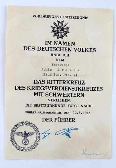 GERMAN WWII KNIGHTS CROSS MERIT CROSS DOCUMENT