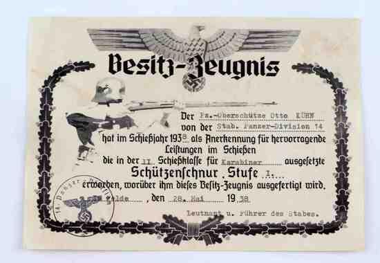 WWII GERMAN ARMY MARKSMAN LANYARD SHOOTING AWARD