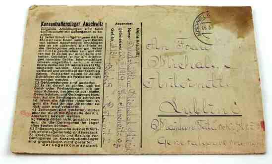 WWII GERMAN JEWISH AUSCHWITZ CAMP ENVELOPE