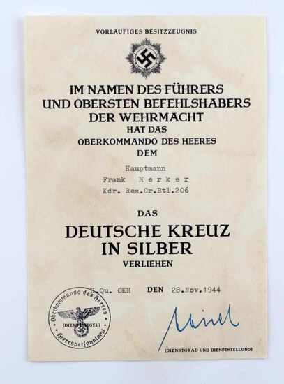 WWII GERMAN THIRD REICH CROSS IN SILVER DOCUMENT
