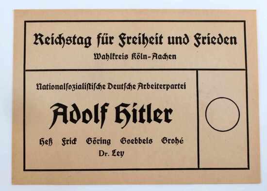 WWII GERMAN THIRD REICH NSDAP ELECTION BALLOT