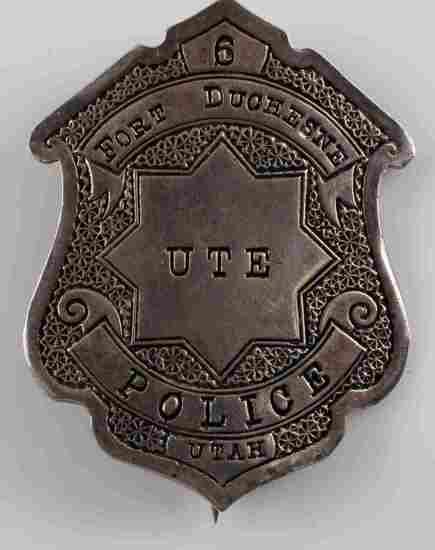 OLD WEST UTE FORT DUCHESNE POLICE UTAH LAW BADGE